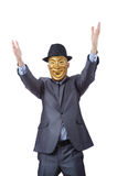 Businessman with mask concealing his identity Stock Photography