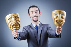 Businessman with mask concealing  identity Royalty Free Stock Photography