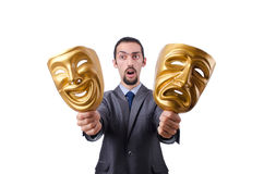 Businessman with mask concealing  identity. Businessman with mask concealing his identity Royalty Free Stock Image