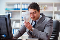 The businessman with mask in office hypocrisy concept Royalty Free Stock Images