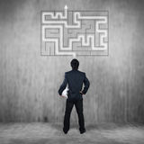 Businessman with maze, business concept royalty free stock photos