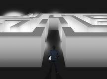 Businessman with maze, business concept Stock Photos
