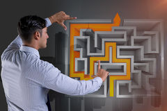 The businessman with maze in difficult situations concept Stock Image