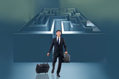 The businessman with maze in difficult situations concept Royalty Free Stock Image