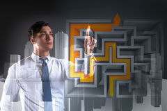 The businessman with maze in difficult situations concept Royalty Free Stock Photo