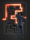 The businessman with maze in difficult situations concept Stock Photo