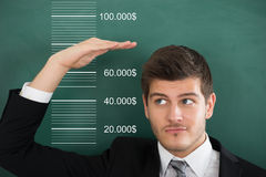 Businessman Measuring His Salary Royalty Free Stock Photography