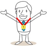 Businessman with medal, number one. Vector illustration of a monochrome cartoon character: Happy businessman with open arms and gold medal around his neck Royalty Free Stock Photos
