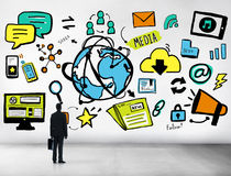Businessman Media Global Communication Looking up Concept Royalty Free Stock Photos