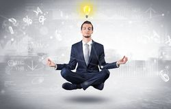 Businessman meditates with enlightenment concept. Businessman meditates with enlightenment data reports and financial conceptn vector illustration