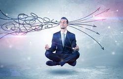 Businessman meditates with purifying doodle concept royalty free stock image