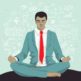 Businessman meditating with background of social network doodles sketch elements Stock Image