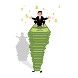 Businessman meditating on dollar. Financial yoga. Man sits on pa Royalty Free Stock Photography