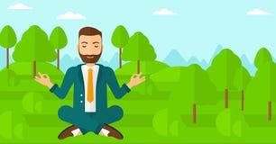 Businessman meditating in lotus pose. Stock Image