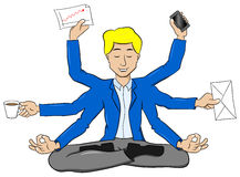 Businessman meditating in lotus position and does a lot of work Royalty Free Stock Photo