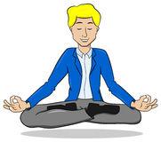 Businessman meditating in lotus position and floating Royalty Free Stock Photos
