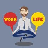 Businessman meditating. Man balancing life and work. Vector Stock Photo