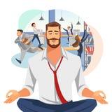 Businessman Meditating in Office Cartoon Vector vector illustration