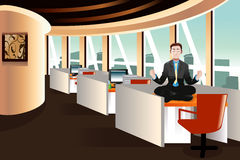 Businessman meditating in the office. A vector illustration of businessman meditating in the office Stock Photos