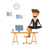 Businessman meditating in peace over the office table. Time management, stress relief and problem solving concepts. Royalty Free Stock Photos