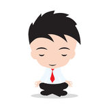 Businessman is meditating and relaxing in lotus pose. Business yoga, on white background Stock Images