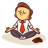 Businessman is meditating and relaxing in lotus pose Stock Image