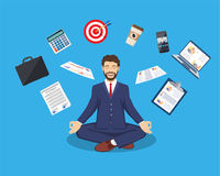 Businessman meditating, time management,. Stress relief and problem solving concepts, man thinking about business in lotus pose. Vector illustration in flat Stock Images