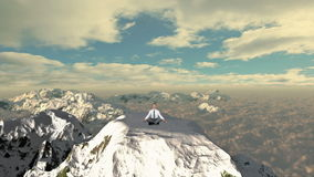Businessman meditating on top of the mountain above clouds, slowly rising, stock footage. Video stock video footage