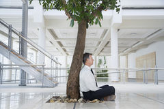 Businessman Meditating Under Tree In Office. Full length side view of middle aged businessman meditating under tree in office Stock Photos