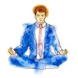 Businessman meditating, watercolor vector illustration, business man meditation in lotus Royalty Free Stock Images