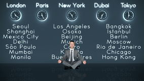 Businessman Meditating with World Clocks and Big Cities on Background in Dark Room, stock footage stock video footage