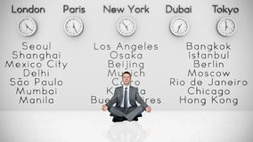 Businessman Meditating with World Clocks and Big Cities on Background, stock footage Stock Images