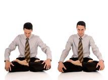 Businessman meditating yoga Stock Photos