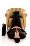 Businessman meditating yoga Stock Photography