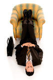 Businessman meditating yoga Royalty Free Stock Images