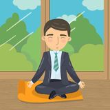 Businessman meditating in yoga lotus position, office worker relaxing on the background of window with summer view royalty free illustration