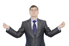 Businessman in meditation. Businessman meditating trying to find a solution of his problem Stock Photo