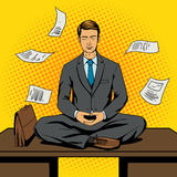 Businessman meditation cartoon pop art style Royalty Free Stock Image