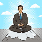 Businessman meditation cartoon pop art style Royalty Free Stock Photos