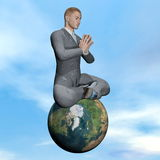 Businessman meditation - 3D render. Businessman meditating upon the earth - Elements of this image furnished by NASA Royalty Free Stock Images