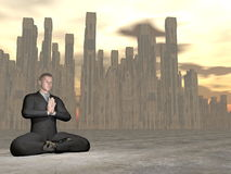 Businessman meditation - 3D render. Businessman meditating in front of the city by sunset Stock Photos