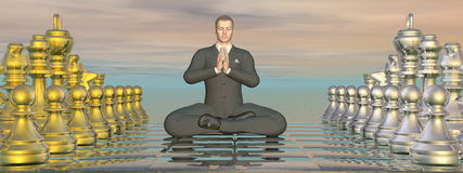 Businessman meditation strategy - 3D render Stock Photo
