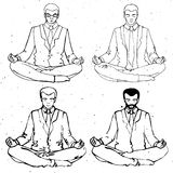 Businessman meditation, vector businessman silhouette, business man meditating in lotus Royalty Free Stock Photo