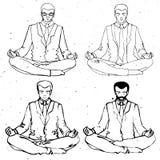 Businessman meditation, vector businessman silhouette, business man meditating in lotus Royalty Free Stock Photo