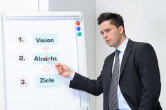 Businessman in meeting pointed at board. In an office Royalty Free Stock Photography