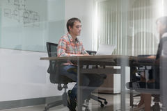 Businessman Meeting Room Interview Working Laptop Stock Photography