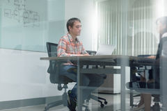 Businessman Meeting Room Interview Working Laptop Stock Images