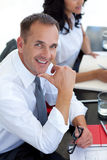 Businessman in a meeting smiling Royalty Free Stock Photo