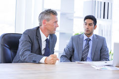 Businessman meeting withcolleague using laptop Royalty Free Stock Image