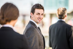 Businessman at a meeting Royalty Free Stock Image